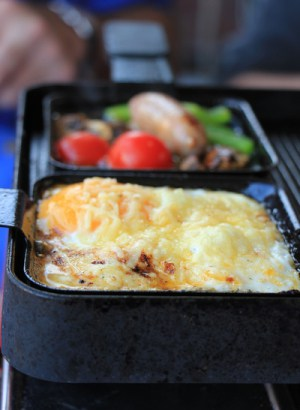 Raclette Pans on Nonstick Grill Top